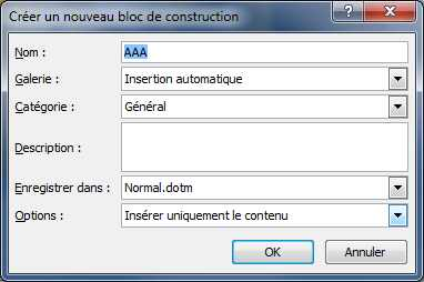 Nouvelle fonction insertion automatique Word 2010