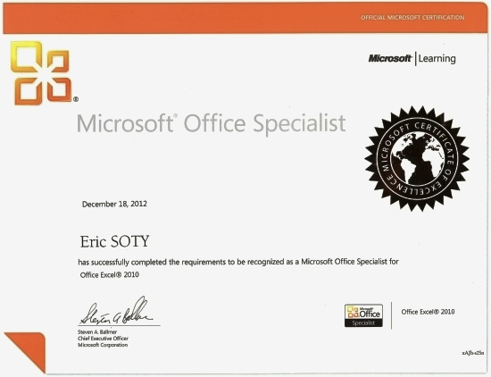 Certification Microsoft Office Specialist MOS